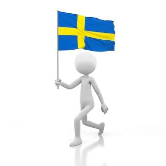 Piccola persona che cammina con la bandiera della svezia in una mano. immagine di rendering 3d