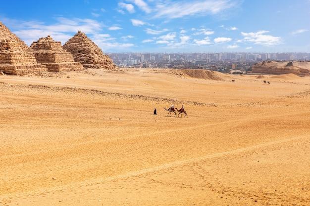 Piccole piramidi di regine e cammelli di menkaure nel deserto di giza.