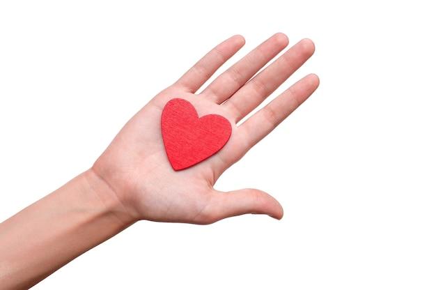 Il piccolo cuore rosso è tenuto da una mano.