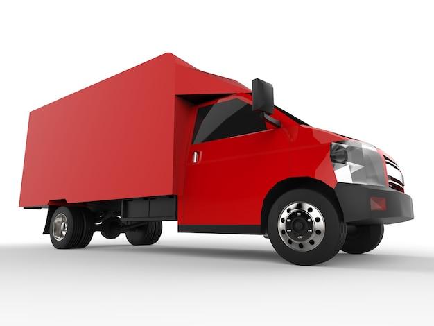Piccolo camion rosso. servizio di consegna auto. consegna di merci e prodotti ai punti vendita. rendering 3d.