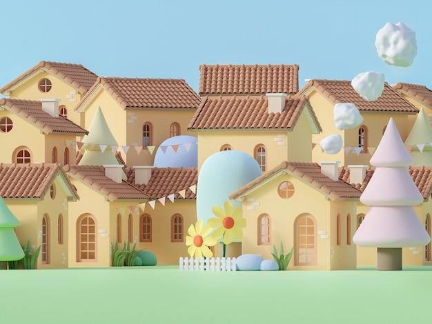 Piccolo villaggio in stile cartone animato in colori pastello 3d render decorato con un albero e un fiore basso poligono