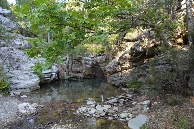 Piccola cascata in pietre lago in pietre vacanze estive
