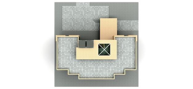 Piccolo condominio bianco e beige con ascensore e garage. rendering 3d.