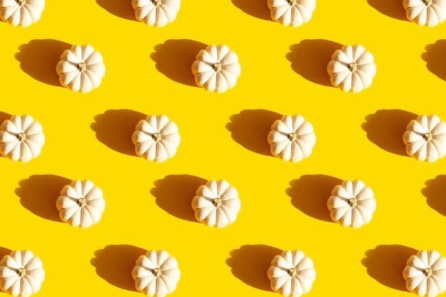 Piccole zucche decorative bianche su sfondo giallo con motivo senza cuciture di ombre contrastanti