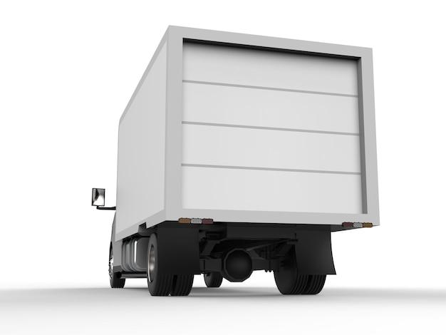 Piccolo camion bianco. servizio di consegna auto. consegna di merci e prodotti ai punti vendita. rendering 3d.