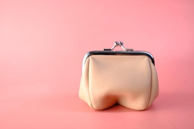 Portafoglio della borsa delle piccole donne sullo spazio rosa, fine in su.