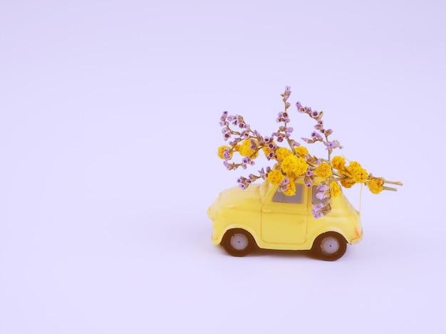 Piccola macchinina gialla con un mazzo di fiori selvatici su sfondo bianco.