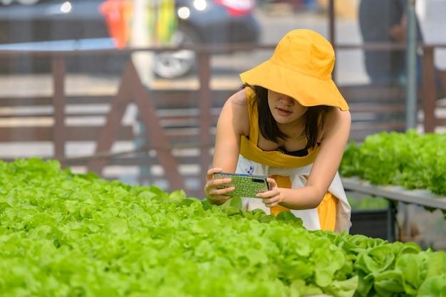 Agricoltura intelligente, fattoria, concetto di tecnologia dei sensori. mano del coltivatore che utilizza smart phone per il monitoraggio di temperatura, umidità, pressione, luce del suolo nella fattoria delle fragole