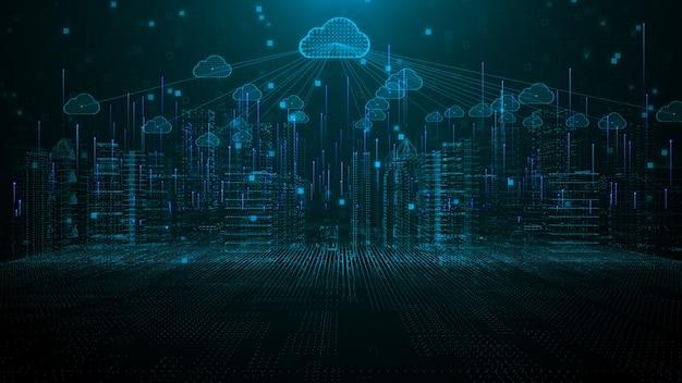 Città intelligente del cloud computing che utilizza l'intelligenza artificiale