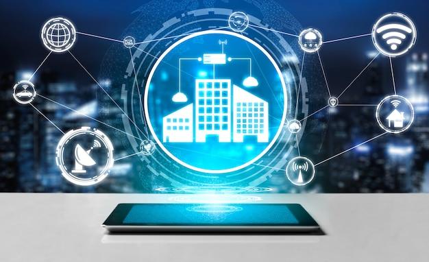 Concetto di tecnologia smart city e internet. Foto Premium