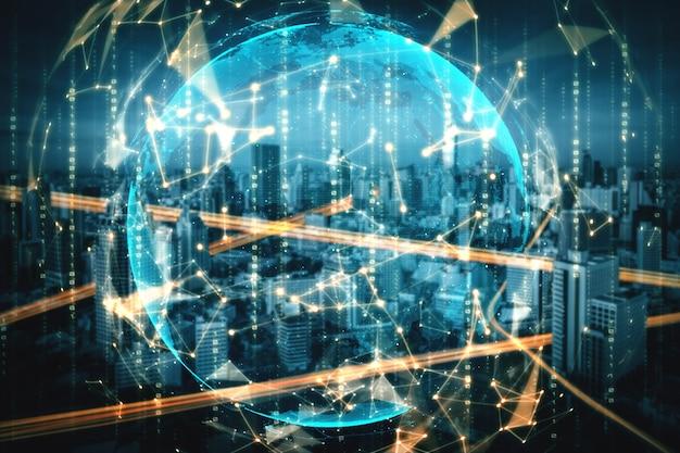 Tecnologia smart city con grafica futuristica del trasferimento dati digitale