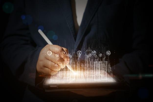 Città intelligente con connessione di rete tecnologica