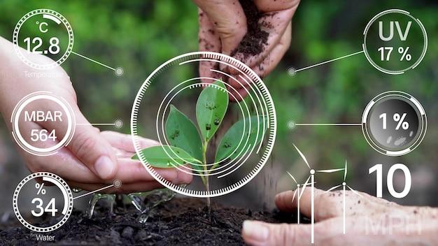 Tecnologia di agricoltura digitale intelligente tramite una gestione futuristica della raccolta dei dati dei sensori