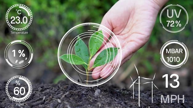 Tecnologia intelligente per l'agricoltura digitale grazie alla raccolta di dati futuristici dei sensori