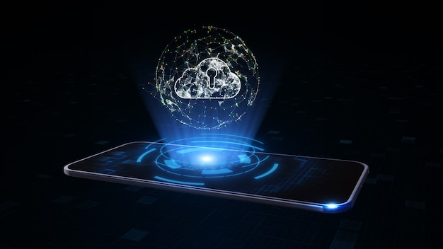 Smart phone con simbolo di archiviazione cloud digitale. rete di dati digitali cloud computing tecnologia di sicurezza informatica