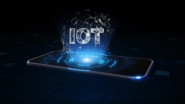 Smart phone con simbolo iot, internet delle cose, tecnologia digitale per internet