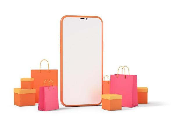 Smart phone con borse della spesa e scatole di prodotti, concetto di acquisto online
