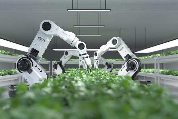 Agricoltori robotici intelligenti concetto robot agricoltori
