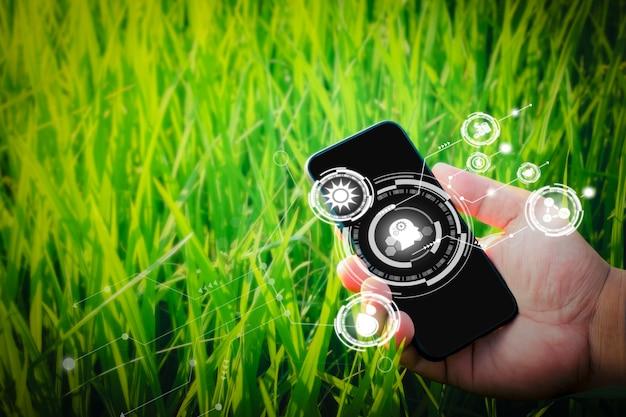 Tecnologia intelligente con internet of things iot concetto di agricoltura futuristica