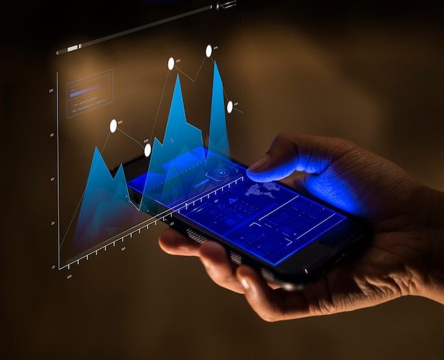 Concetto di finanza e analisi aziendale per smartphone