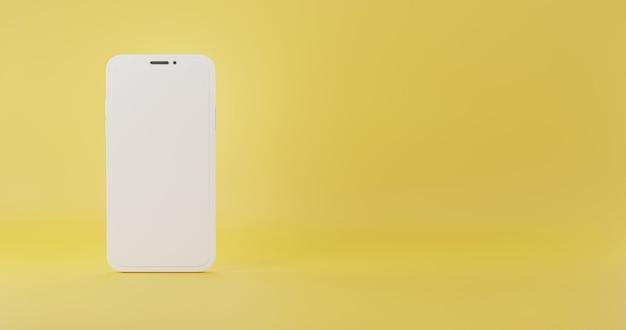 Smartphone modello dorato simulare il colore bianco illustrazione minima di rendering 3d del telefono cellulare