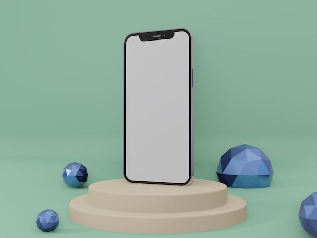 Smartphone o iphone 3d rendono foto di alta qualità per la vista ravvicinata del mockup