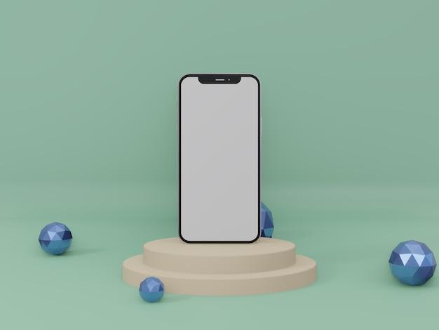 Smartphone o iphone 3d rendono la foto di alta qualità per la vista frontale del mockup