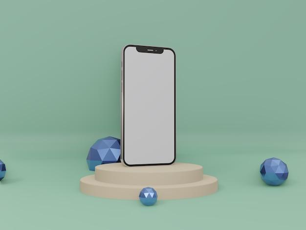 Smartphone o iphone 3d rendono la foto di alta qualità per la vista laterale del mockup