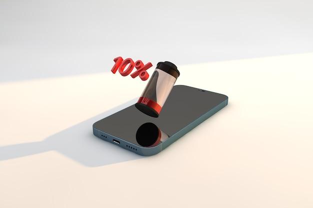 Indicatore di batteria scarica dello smartphone. priorità bassa di tecnologia di rendering 3d