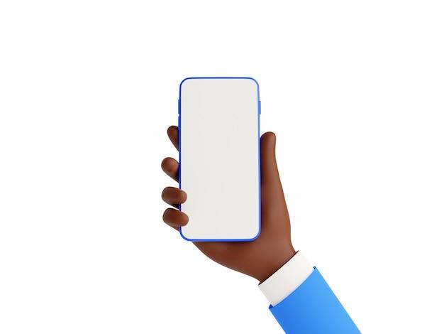 Il modello di smartphone in mano afroamericana 3d rende l'illustrazione su priorità bassa bianca. mano afroamericana in tailleur blu che tiene in mano un telefono cellulare con touch screen bianco vuoto - modello di gadget.