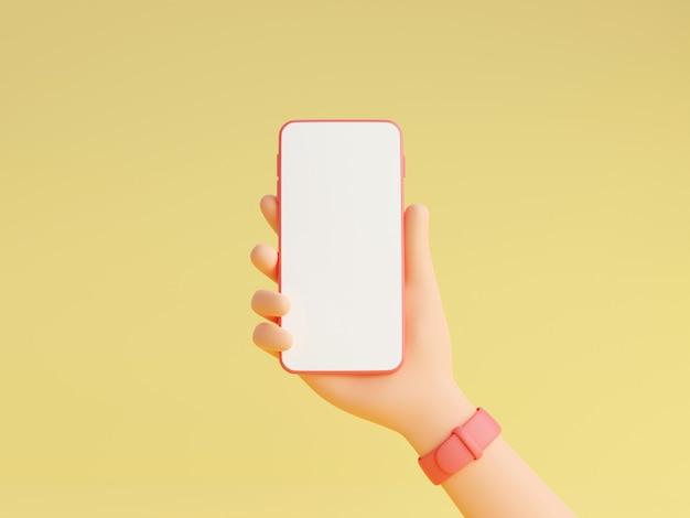 Il modello di smartphone in mano umana con orologi da polso rosa 3d rende l'illustrazione, gadget mobile con schermo bianco vuoto in mano di carattere isolato su sfondo giallo.