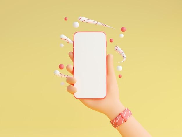Il modello dello smartphone in mano umana con gli orologi da polso rosa 3d rende l'illustrazione. telefono cellulare con schermo bianco vuoto in mano di carattere con decorazioni su sfondo giallo.