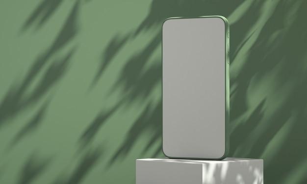 Modello di smartphone con l'ombra dell'albero sullo sfondo della parete, modello di prodotto estivo, illustrazione di rendering 3d