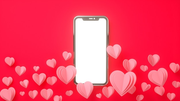 Mockup di smartphone con il concetto di san valentino. amore, matrimonio, festa della mamma, invito. rendering 3d