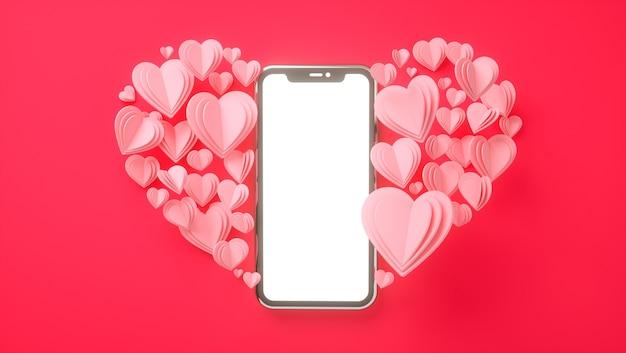 Mockup di smartphone con il concetto di san valentino. amore, matrimonio, festa della mamma, invito