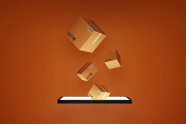 Smartphone e cassette dei pacchi come concetto di consegna