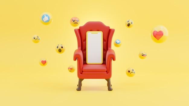 Smartphone sulla sedia rossa e circondato dal concetto sociale di emoji nel rendering 3d
