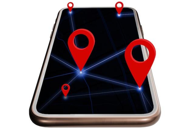 Lo smartphone e il perno rosso assegnano le coordinate, il concetto di navigazione della mappa gps con la posizione sull'applicazione della mappa, sfondo bianco con tracciato di ritaglio.