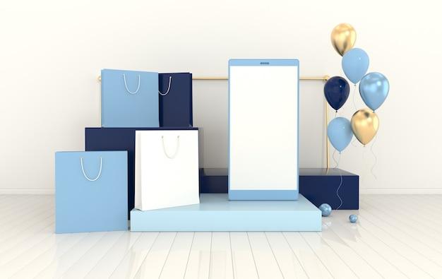 Sfondo di mockup di palloncini per shopping bag per smartphone in stile minimaleconcetto di gadget tecnologico