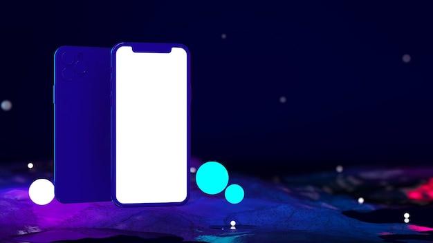 Smartphone con schermo vuoto per la presentazione dell'app in colori neon