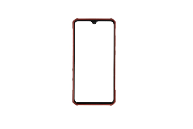 Lo smartphone con schermo bianco vuoto isolato su sfondo bianco.