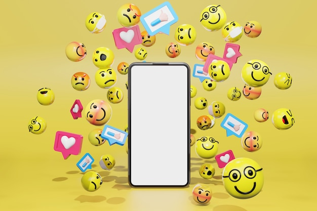 Smartphone con icone di emoticon dei cartoni animati per i social media. rendering 3d