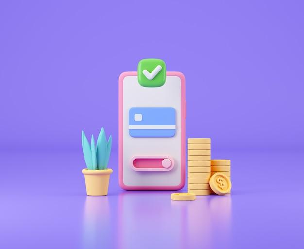 Smartphone con carta di credito e denaro contante transazione di denaro online banking e pagamenti sicuri c