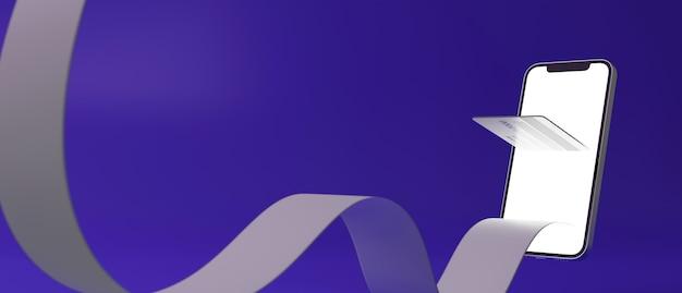 Smartphone con carta di credito e ricevuta fluttuante dal rendering 3d del pagamento online della schermata mockup