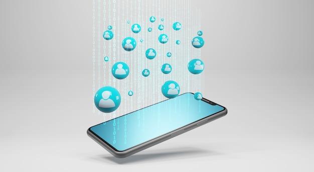 Smartphone con icone umane. concetto di rete sociale, rendering 3d
