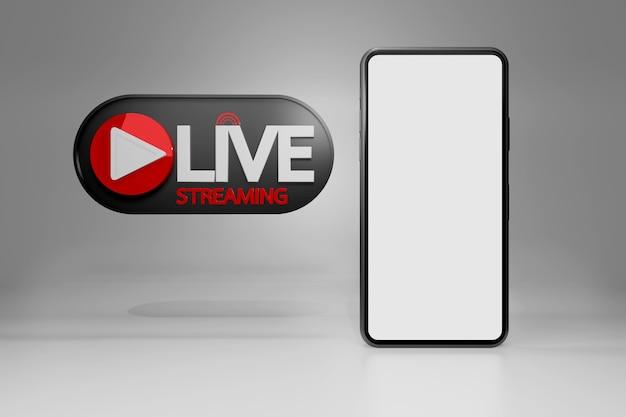 Smartphone con live streaming per la vendita del prodotto sui social media. concetto di acquisto online, rendering 3d