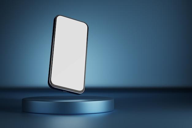 Smartphone con schermo bianco. posto per il tuo design. podio del prodotto. modello per infografica o interfaccia di progettazione dell'interfaccia utente di presentazione. smartphone su sfondo blu. rendering 3d.