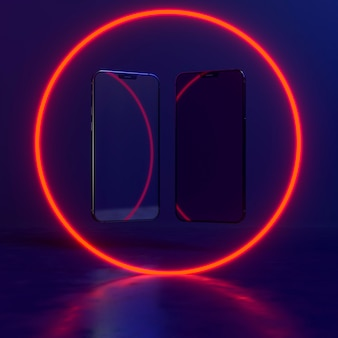 Smartphone in cerchio di luce al neon