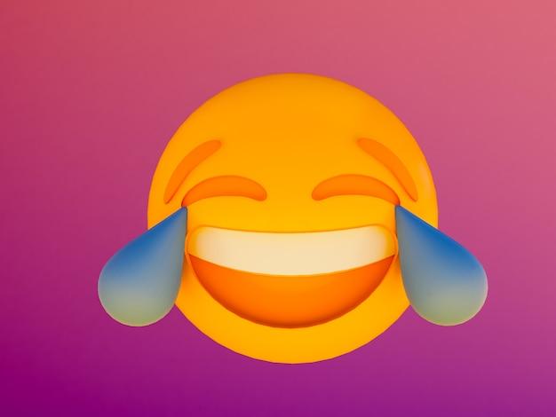 Sorriso emoji palla gialla. 3d rendono la priorità bassa