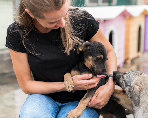 Donna sorridente che gioca con i cani da salvataggio al rifugio di adozione